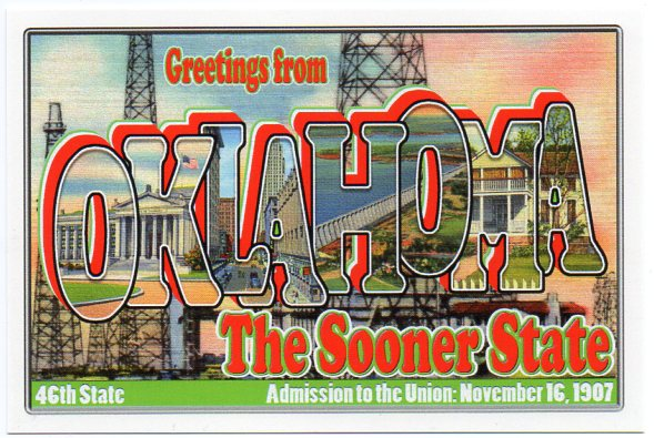 Oklahoma large letter postcard 46th state