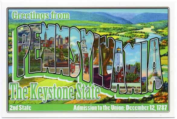 Pennsylvania large letter postcard 2nd state