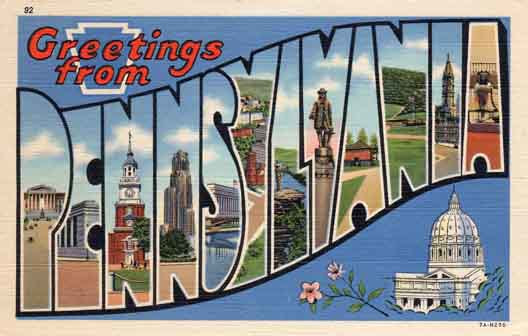 Pennsylvania large letter postcard checklist