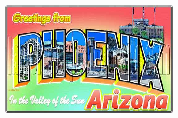 Greetings from Phoenix, Arizona large letter postcard