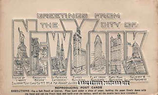 New York frottage large letter postcard
