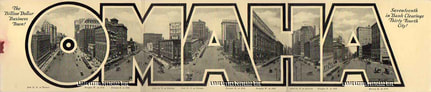 Omaha tri-foldout large letter postcard
