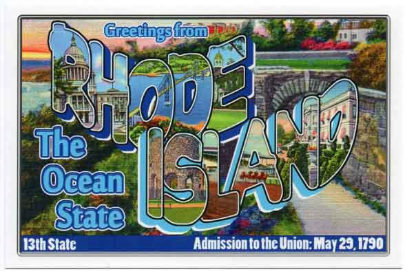Rhode Island large letter postcard 13th state