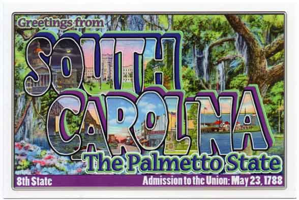 South Carolina large letter postcard 8th state