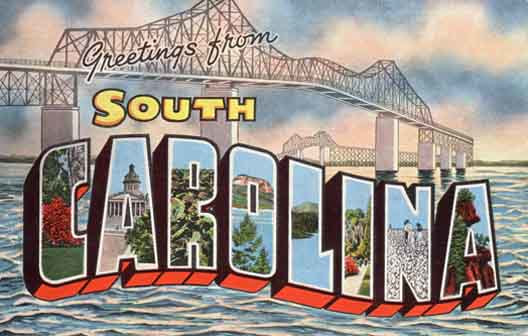 South Carolina large letter postcard checklist
