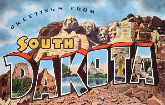 South Dakota large letter postcard checklist