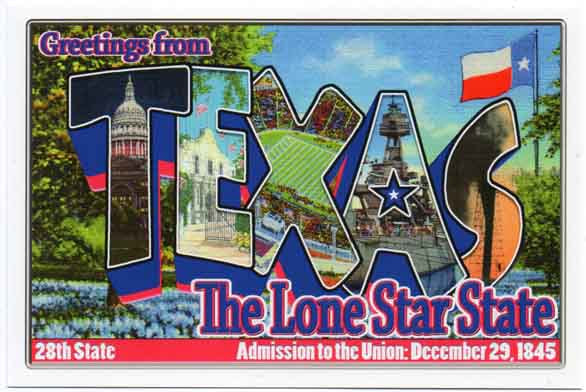 Texas large letter postcard 28th state