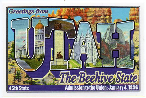 Utah large letter postcard 45th state