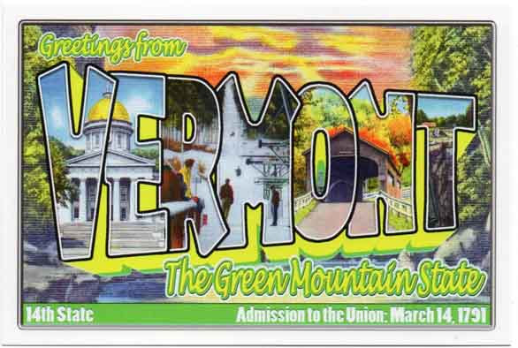 Vermont large letter postcard 14th state