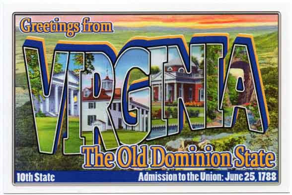 Virginia large letter postcard 10th state