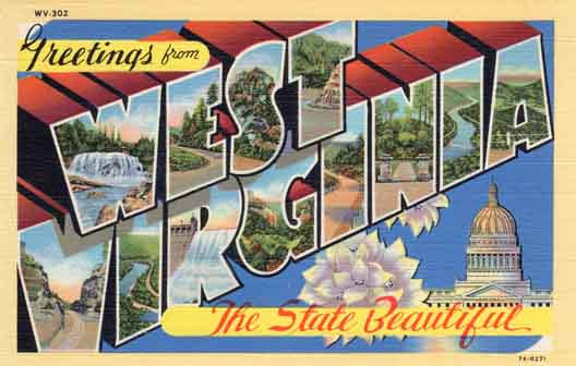 West Virginia large letter postcard checklist