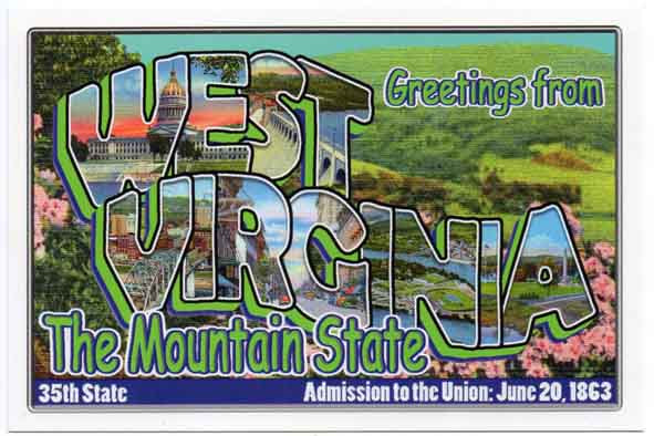 West Virginia large letter postcard 35th state
