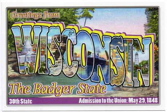 Wisconsin large letter postcard 30th state